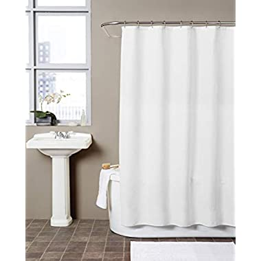 Hermosa Collection Waffle Fabric Hotel Quality Shower Curtain - Water Repellent (72 x 72, White)