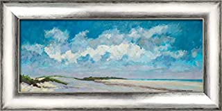 Lakeview I 24x11 Silver Contemporary Wood Framed Canvas Art by Vierhout, Pieter