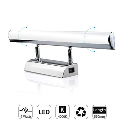 Luxvista LED Spiegellampe 9W Badleuchte 57cm 230V Aufbauleuchte Neutralweiß 4000K IP44 Badezimmer Beleuchtung Schminklicht Schrankleuchte mit Schalter Wandleuchte aus Edelstahl
