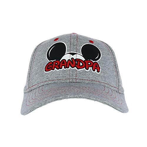 Disney Men's Mickey Mouse Grandpa Fan Baseball Cap, Grey