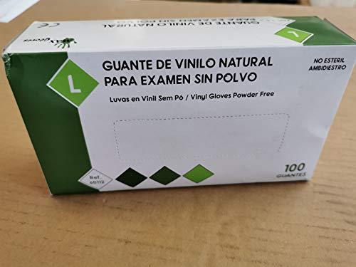 Guantes de Vinilo PVC Sin Polvo MAX GLOVES Desechables Especial Alérgicos Látex - 4,5 gr - Color Natural - 100 unidades (L (Grande))