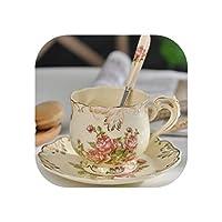 セラミックコーヒーカップとソーサー手塗りローズ磁器ティーカップセットスプーンクラシックドリンクウェアギフト、250 mlローズ