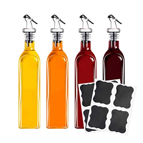 Tebery 4 Pack Oil and Vinegar Cruet Glass Bottles with Dispensers 17oz Oil and Vinegar Dispenser Set