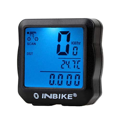 KELITE Fahrrad-Entfernungsmesser, Kabel-Tachometer, wasserdicht Multifunktions-LCD mit Hintergrundbeleuchtung Motion Sensor Tachometer (Color : Blue)