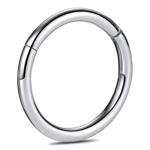 CIZME G23 Anello da Naso incernierato in Titanio Hoop Clicker Segmento Senza Soluzione di continuità Anello da Piercing al Labbro 20G 18G 16G 14G