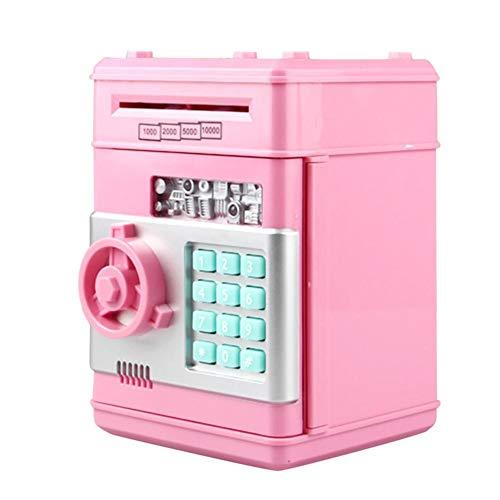 UEB Salvadanaio Elettronico Automatico Salvadanaio Bancomat con Password Salvadanaio Cassaforte per Contanti e Monete Giocattolo Regalo per Bambini (Rosa)