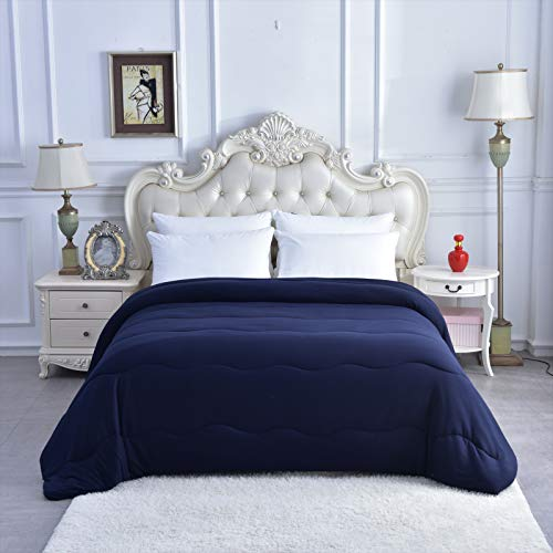 Selene's Home Bedding - 300 GSM Goose Down Alternative Quilted Comforter, Soft Milk Silk All-Season Duvet Insert or Reversible Stand-Alone Comforter/Fluffy Blanket (Blue, King 104' x 90')