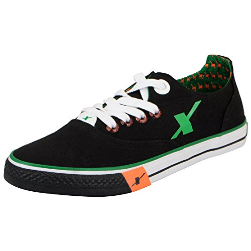 8. Sparx Men's Black and Green Sneakers
