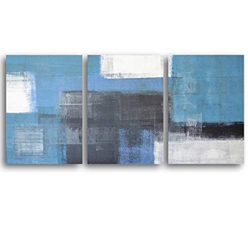 Nordisk blå vit minimalistisk abstrakt dukmålningar Familjeväggkonst Postrar Uppdatera väggtryck Vardagsrumsdekor 23,6x31,4 (60x80cm) 3st ramlös