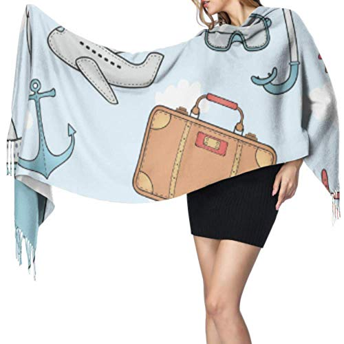 Fashion Colorful Travel Luggage Bag A Scarf For Women Print Scarf Travel Scarf 77x27inch/196x68cm Large Soft Pashmina Extra Warm