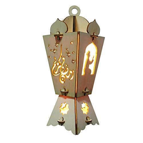 S And W Ramadan Dekoration,LED Ramadan Laternen Hängende Laterne Windlaterne Holzornamente LED Nachtlicht Batteriebetrieben Geeignet Für Schlafzimmer, Bett, Wohnzimmer, Arbeitszimmer Usw