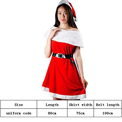 jinclonder Neues Weihnachtskostüm One-Shoulder-Jumpsuit-Gruppe Weihnachtsmann-Kostüm Party-Bühnenkostüm Weihnachtskostüm Anzug Performance-Kleid Kleid + Hut + Gürtel