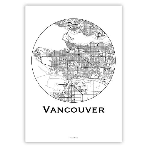 Plakat Vancouver Canada Minimalist Map - Poster, City Map, Dekoration, Geschenk