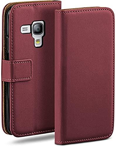 moex Klapphülle kompatibel mit Samsung Galaxy S3 Mini Hülle klappbar, Handyhülle mit Kartenfach, 360 Grad Flip Hülle, Vegan Leder Handytasche, Weinrot