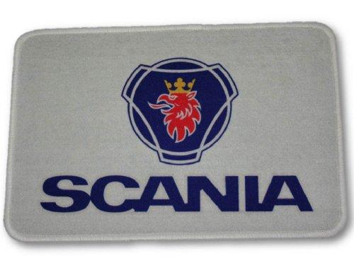 SCANIA Fußmatte mit Logo, 60x40cm Waschbar Feines Velours Universell einsetzbar   LKW-Fußmatte, Teppich zur Innenausstattung   Schmutzfänger für LKW, PKW und Wohnung   Universal Auto-Matte, Autofußmatte als Zubehör fürs Truck-Fahrerhaus