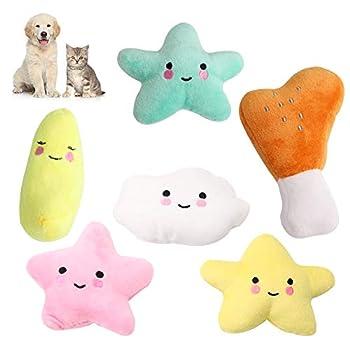Lot de 6 jouets couineurs en peluche durable pour chien et chat