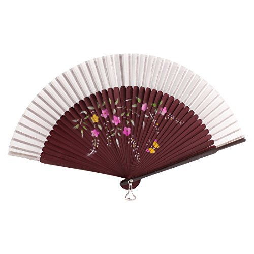 DealMux Butterfly Flower Printed Party Fold Hand Fan Gift Decor White Burgundy