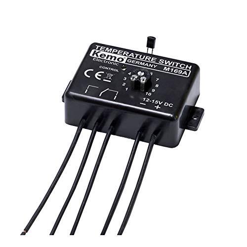 Kemo M169A einstellbarer elektronischer Temperaturschalter Thermostat 12 V/DC. Temperaturschaltbereich 0 - 100°C. Verbindung mit Steuerelektronik möglich