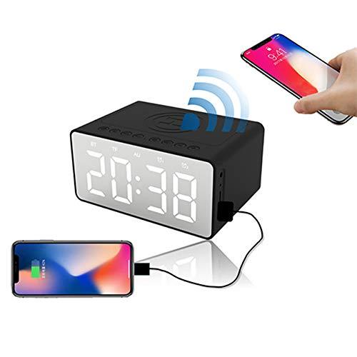 MROSW 3-in-1 draadloze oplader met bluetooth-luidsprekers, QI draadloze charging-wekker met USB-oplader, compatibel met iPhone 11 Pro Xs Max/Samsung S10 +, LED kindernachtwekker