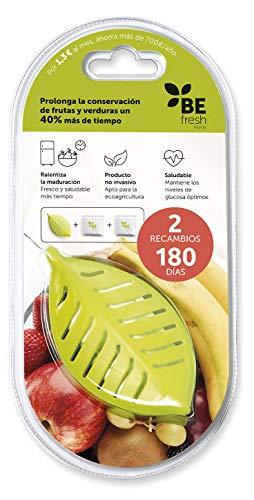 BEfresh Home - Frutas y Verduras Frescas Durante un 40% más de Tiempo | para Uso Dentro y Fuera de la Nevera | Pack 6 Meses | 1 Recipiente + 2 Sachets | Made in Spain