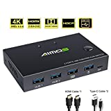 AIMOS KVM Switch, USB Switch 4K HDMI Switcher Box 2 In 1 Out