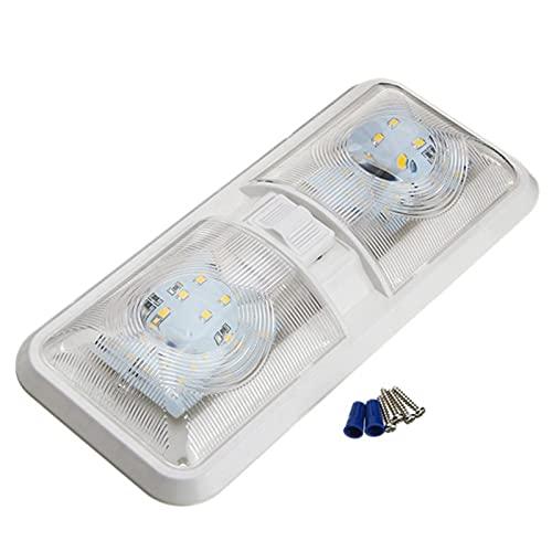 Mogzank LáMpara de Techo de Doble Domo con Interruptor de Encendido/Apagado IluminacióN Interior para AutomóVil/RV/Remolque/Autocaravana/Barco 12V
