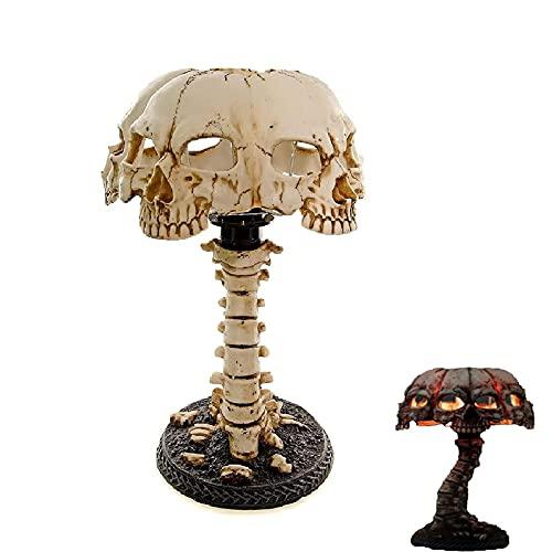 N\ A Lámpara de mesa gótica con diseño de calavera y espina dorsal de Halloween Terror regalo para decoración de mesa de horror de Halloween