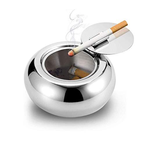 LUCYLANKER Posacenere in Acciaio Inox,Posacenere con Coperchio,Posacenere per sigari,Desktop Smoking posacenere per Home Office Decorazione, Argento (Argento, 12.5 * 6cm)