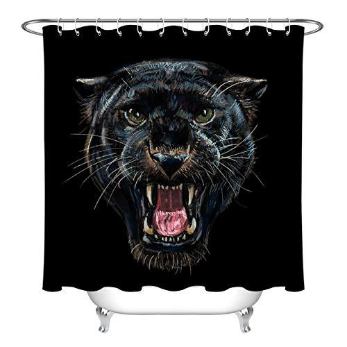 JYEJYRTEJ Brüllender Panther Dekorativer Duschvorhang kann gewaschen & getrocknet Werden,12Haken,180X200cm,geeignet für Badezimmer