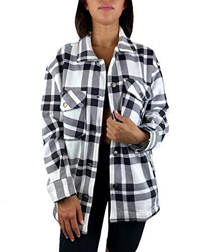 Worldclassca Damen Oversized KARO Hemd HEMDJACKE KARIERT HOLZFÄLLERHEMD LANGARMHEND MIT Brusttaschen HEMDBLUSE Bluse Shirt Designer Blogger NEU S-L 36-42 (M, Muster 0)