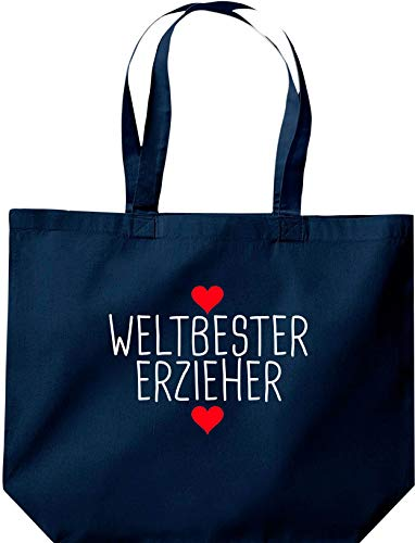 Shirtstown, borsa con scritta in lingua tedesca 'Weltbeste Ereerer', con logo e scritta in lingua tedesca, Blu (Blu), 35 cm x 39 cm x 13 cm