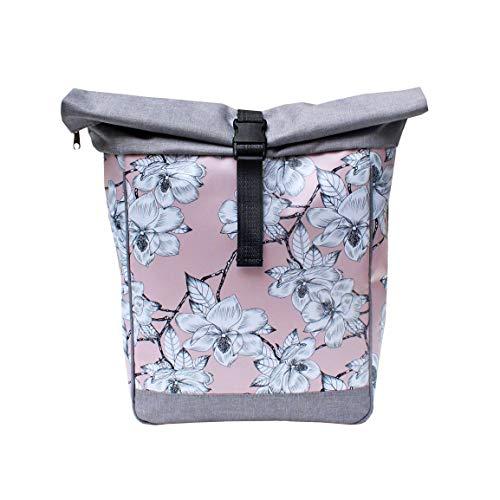IKURI Fahrradtasche/Rucksack KOMBI Fahrradrucksack aus Plane für Gepäckträger Packtasche Wasserdicht für Frauen - Modell Magnolia
