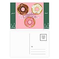 ドーナツの3つのウエスタンデザート食物 グッドラック・ポストカードセットのカードを郵送側20個