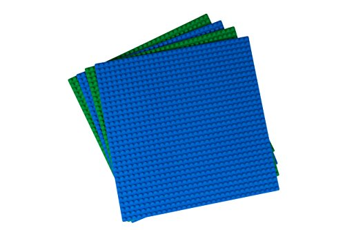 Strictly Briks - Bases Planas clásicas para Construir - Ideal para Hacer una Mesa de Juegos - 100 % Compatible con Todas Las Grandes Marcas - 25,4 x 25,4 cm - 2 Bases Azules y 2 Verdes