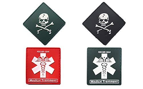 PVC Aufnäher Patches Klett Abzeichen Klettbänder Militär Aufkleber für Rucksäcke 4 pcs set (4 pcs)