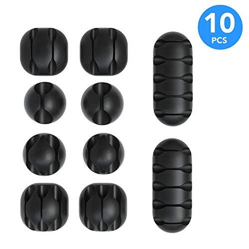 EAZY CASE 10x Kabelclips zur Kabelbefestigung, verschiedene Größen, elastisch & selbstklebend I Kabel Befestigungsclips, Kabelhalter für Kabelmanagement, flexibel, Schwarz