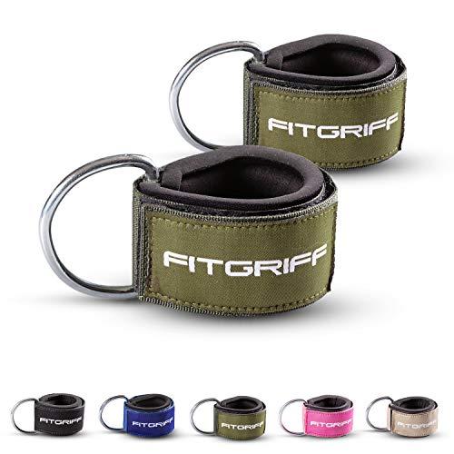 Fitgriff Komfort Fußschlaufen (2Stück) - für Fitness Training am Kabelzug - Fußfesseln für Damen und Herren (Dark Green)