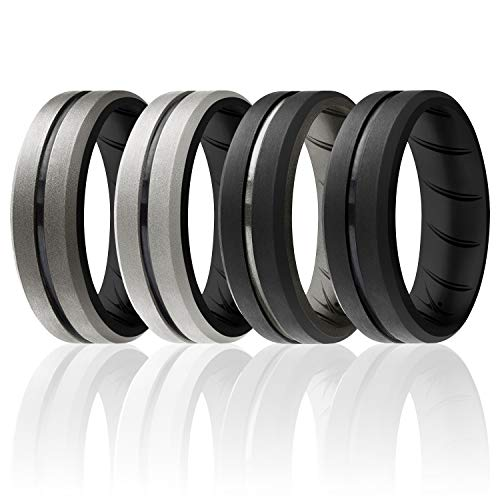 ROQ Silicone Rings, Breathable Silicone Rubber Wedding Ring Band for Men with Comfort-Fit Design, 8mm Engraved Duo, 4 Pack, Silicone Wedding Ring - Black, Silver Colors - Size 7