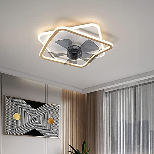 Luz Ventilador Techo Invisible Ventilador De Techo Con Iluminación Y Mando a Distancia Plafón Led Regulable Iluminación Interior Velocidad Del Viento Ajustable Dormitorio Lámpara Decorativa