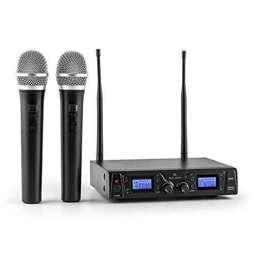 Malone Duett Pro V1 - Set de Micrófonos inalámbricos UHF de 2 canales, 2 Micrófonos de mano inalámbricos, Alcance de 50 m, LED, 2 x XLR y 1 x salida Jack, Estuche de transporte incluído, Negro