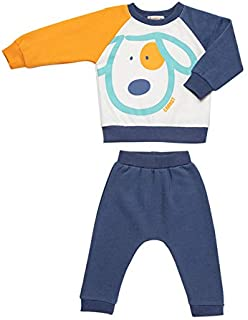 Carrot Printed Round Neck Sweatshirt with Elastic Waist Pants Pajama Set for Boys - Yellow and Navy, 12 - 18 Months