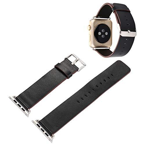 aizhinuo Uhrenband für Serien 3 & 2 & 1, Pflanze Epidermis Textur PU-Leder-Armbanduhr-Band -38mm für Smartwatches-Träger-Ersatz (Color : Black)