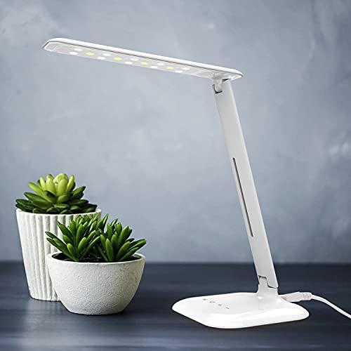 DIRIGIÓ Lámpara de escritorio Lámpara de mesa con cuidado ocular, lámpara de escritorio regulable con USB Puerto de carga, control táctil, 3 modos de color, 5 niveles de brillo, 7W, para la lectura de
