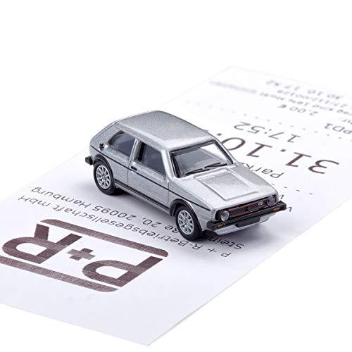 corpus delicti :: Magnetischer Parkscheinhalter für das Armaturenbrett – Modellauto mit Magnet und Selbstklebender Haftscheibe – VW Golf I GTI Silber (20.10-39)