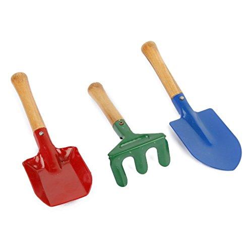 TOOGOO(R) Outils de jardin en plein air Ensemble de Rateau et Pelle Jouet de palette pour les enfants Jouet de sandbox de plage 3 pieces paur un paquet