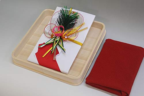 結納金袋(赤白)松竹梅・ヘギ台付・正絹ちりめん風呂敷68cm(エンジ)付き