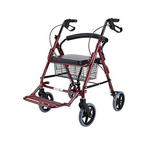 YHtech Ancianos Walker Andador Plegable portátil Auxiliar Walker Cuatro Ruedas Compras Compras Antideslizante bastón con el Hospital