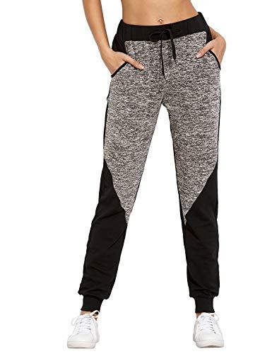 SUNNYME Femme Pantalon de Sport Pants Gym Jogging Survêtement Yoga Couleur Block avec Poches Gris Foncé XL