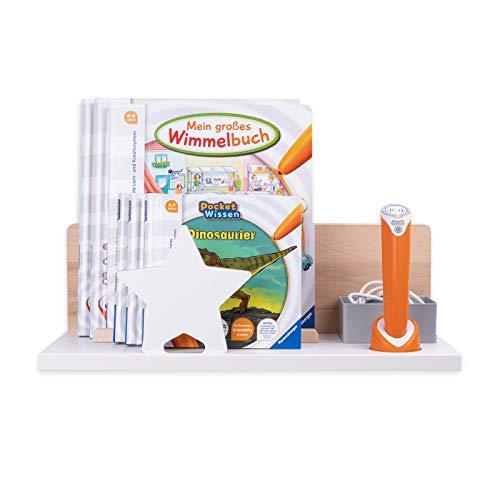 BOARTI Organizer zum Aufstellen in Weiß mit Stern in weiß - geeignet für den tiptoi Stift und ca. 10 Bücher - zum Spielen, Lernen, Sammeln und Aufbewahren
