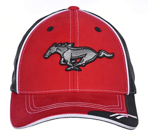 Karierte Flagge Herren Ford Mustang Logo Cap Verstellbar Rot & Schwarz Hut